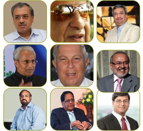 (From left to right) Dilip Shanghvi, Cyrus Poonawalla, Pankaj Patel, Desh Bandhu Gupta, Dr. Yusuf Hamied, Habil Korakiwala, Murali Divi, Dr. K. Anji Reddy, Glen Saldanha